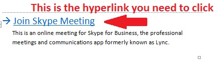 send link for meeting on skype for business